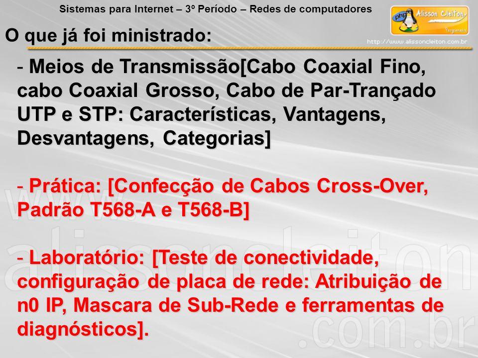 Prática: [Confecção de Cabos Cross-Over, Padrão T568-A e T568-B]